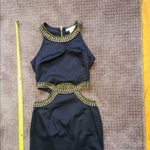 Glamorous Little Black Dress - Sexy Cutouts & Gold
